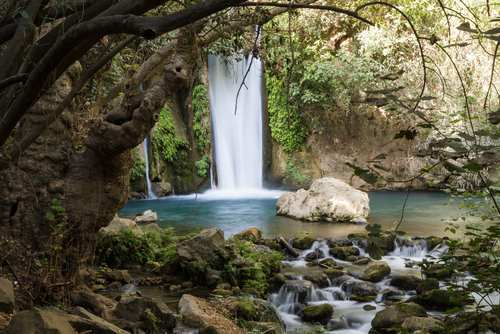 The banias waterfall Israel in the golan